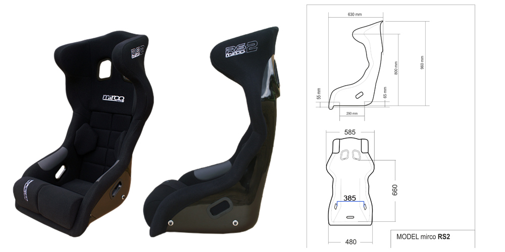Micro RS2 bucket seats and Motorsport seats Dimensions
